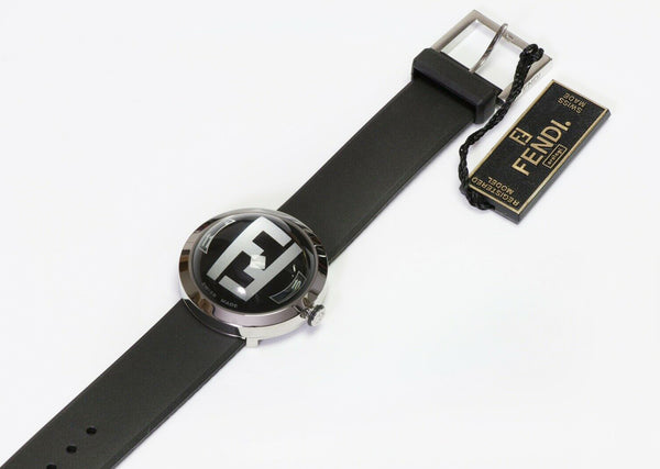 FENDI 8010G Logo Bubble Black Rubber Band Women's Watch