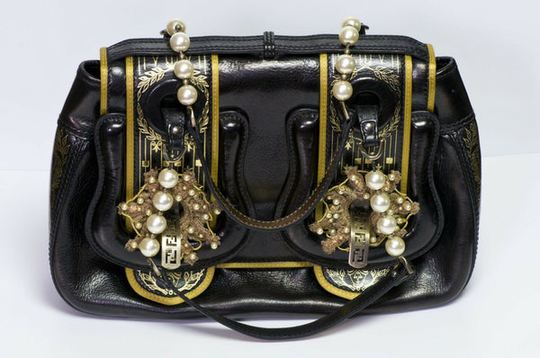 FENDI Romanesque Style Palazzo Black Gold Leather Pearl Buckle B Bag