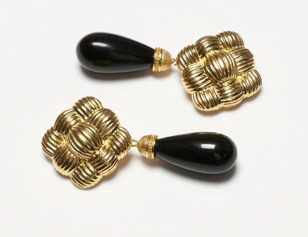 FENDI Long Woven Black Glass Drop Earrings