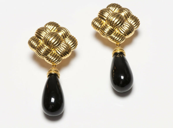 FENDI Long Woven Gold Plated Black Glass Drop Earrings