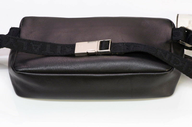FENDI Black Leather Logo Fanny Pack Waist Bag 3
