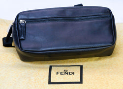 FENDI Black Leather Logo Fanny Pack Waist Bag