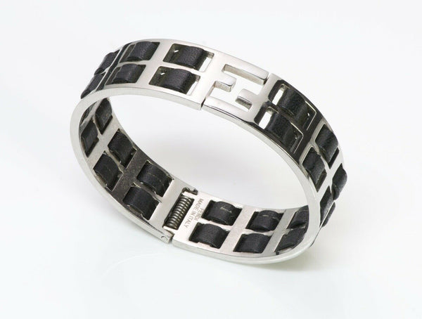 "FENDI ""Fendista"" Wide Black Leather Bracelet"