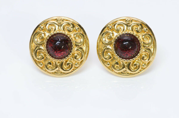 Fendi Gold Plated Red Poured Glass Earrings