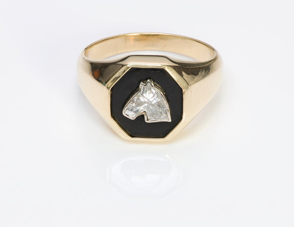 Fancy Cut Horse Diamond Onyx Gold Men's Ring