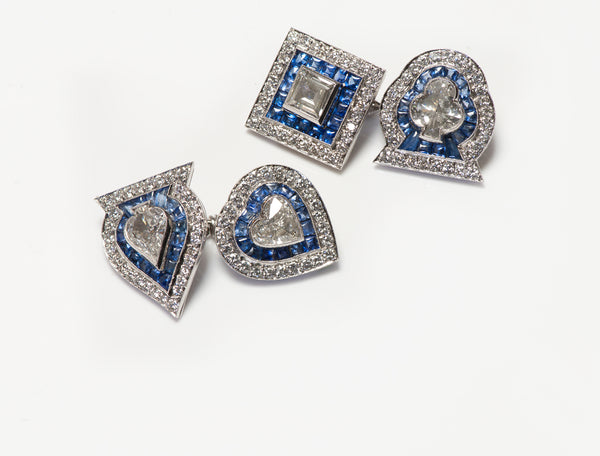 Fancy Cut Diamond Calibre Sapphire Playing Cards Cufflinks