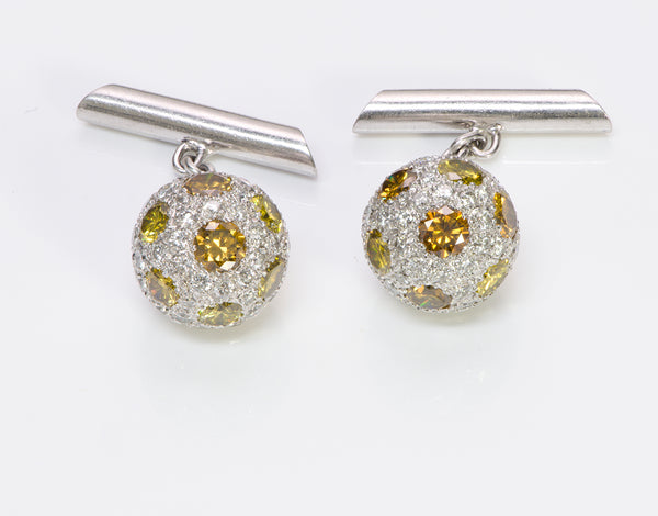 Vintage Pave Diamond & Fancy Ball Platinum Cufflinks