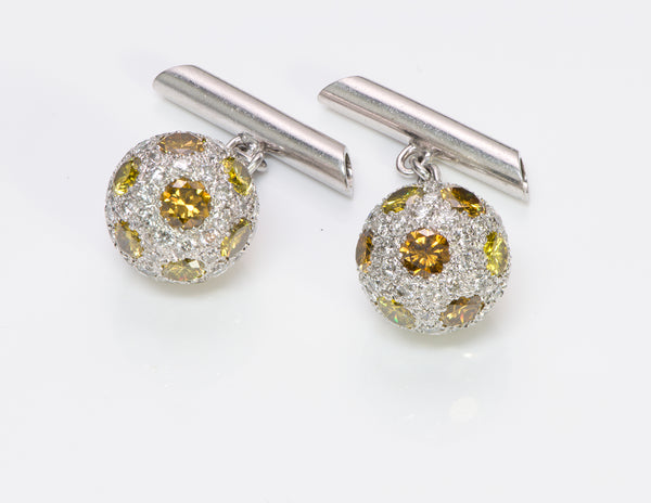Pave Diamond & Fancy Diamond Ball Platinum Cufflinks