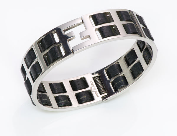 "FENDI ""Fendista"" Wide Black Leather Bangle Bracelet"