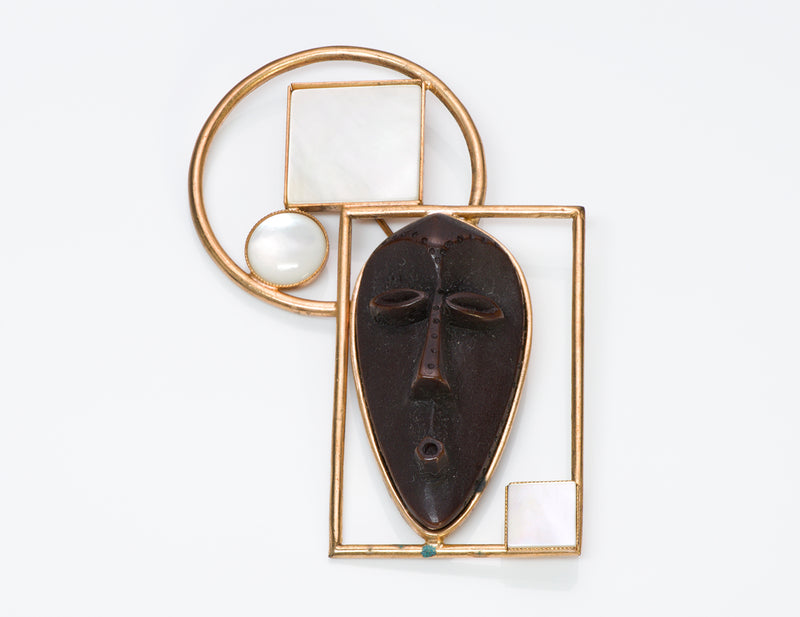 Philippe Ferrandis Mother of Pearl African Masque Brooch