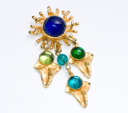 Vintage Philippe Ferrandis Poured Glass Brooch