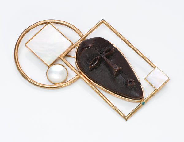 Philippe Ferrandis Mother of Pearl African Masque Brooch 1