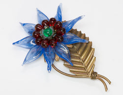 Louis Rousselet 1940's Blue Poured Glass Flower Brooch