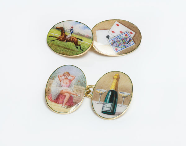 Antique Four Vices 18K Gold Enamel Cufflinks