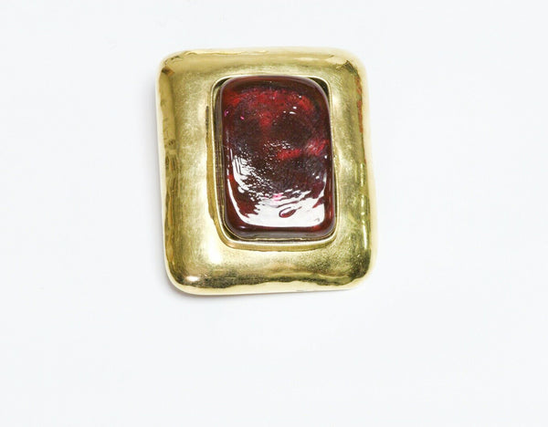 Frances Patiky Stein FPS Paris 1980's Red Poured Glass Brooch