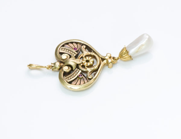 French Art Nouveau Gold Pearl Pendant