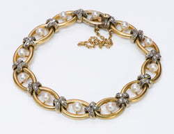 French Antique Gold Diamond Pearl Bracelet