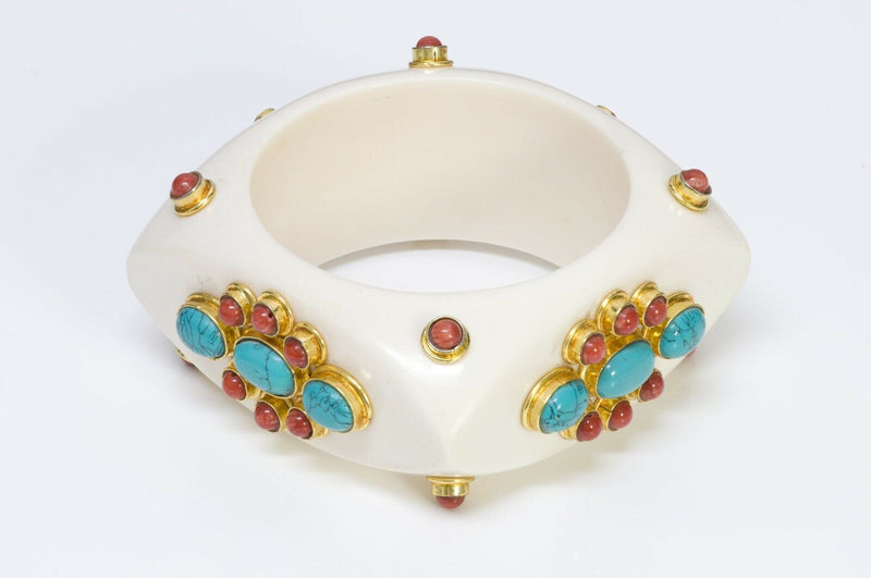 French Couture Faux Turquoise Bangle Bracelet 1