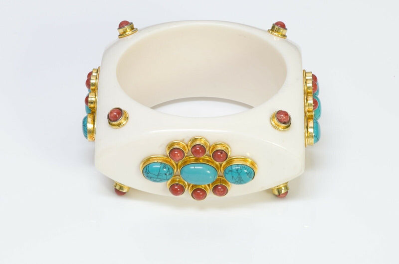 French Couture Faux Turquoise Bangle Bracelet 2