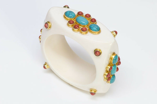 French Couture Faux Turquoise Bangle Bracelet
