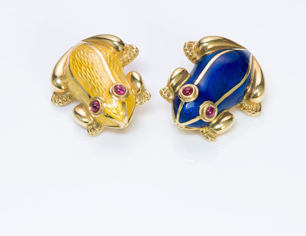 Ruby Frog 18 Gold Enamel Pair Frogs Brooch Pin