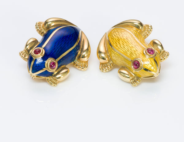 Ruby 18K Gold Enamel Pair Frogs Brooch Pin