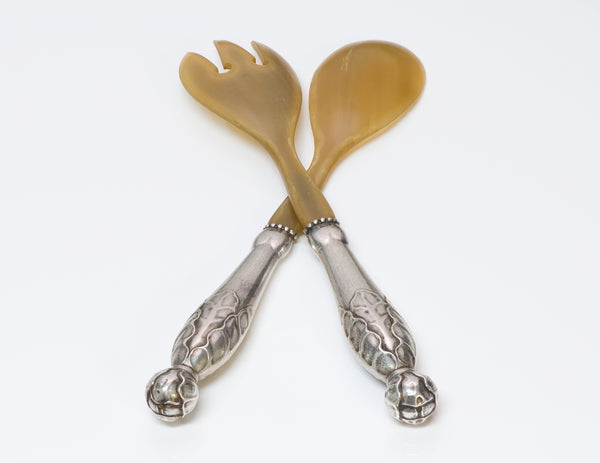 Georg Jensen Sterling Horn Serving Spoon Fork Set