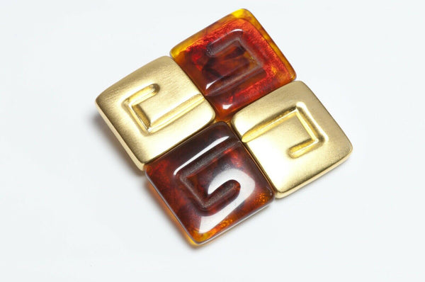GIVENCHY Paris Brown Lucite Logo Brooch