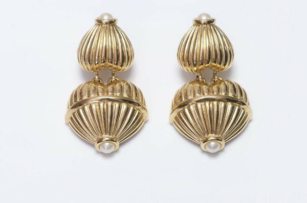 GIVENCHY Paris Pearl Heart Drop Earrings