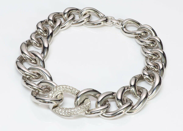 GIVENCHY Chunky Chain Link Crystal Collar Necklace