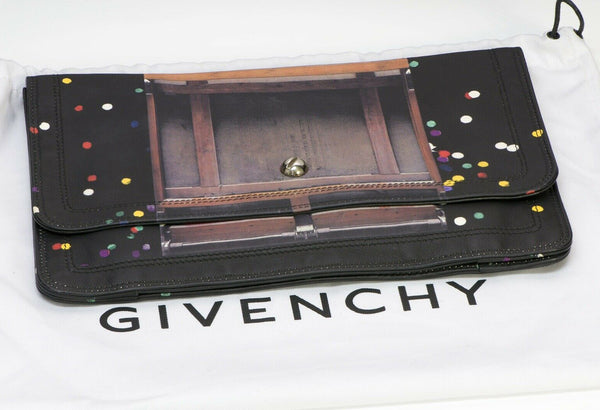 GIVENCHY Confetti Black Leather Flap Clutch Bag