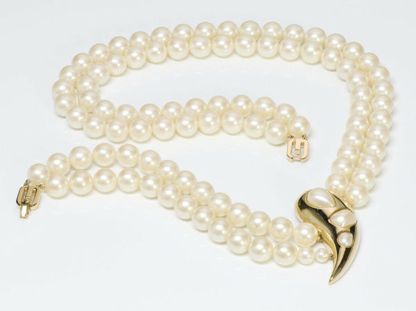 Givenchy Paris 1977 Multi Strand Pearl Necklace