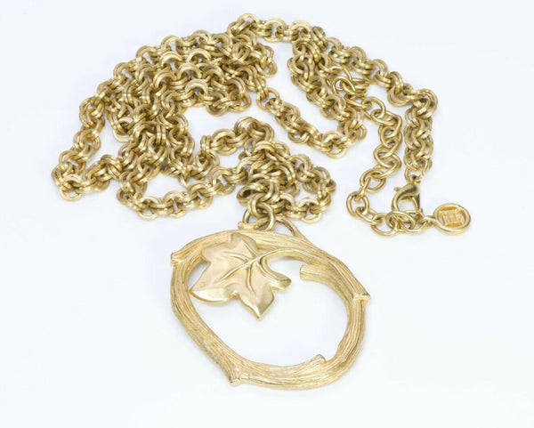 GIVENCHY Gold Plated Leaf Chain Pendant Necklace