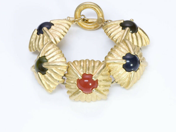 Givenchy Paris Gold Plated Cabochon Glass Bracelet
