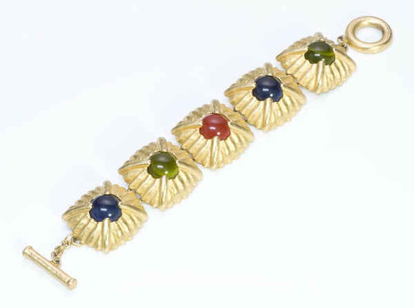 Givenchy Paris Gold Plated Multi Color Cabochon Glass Bracelet