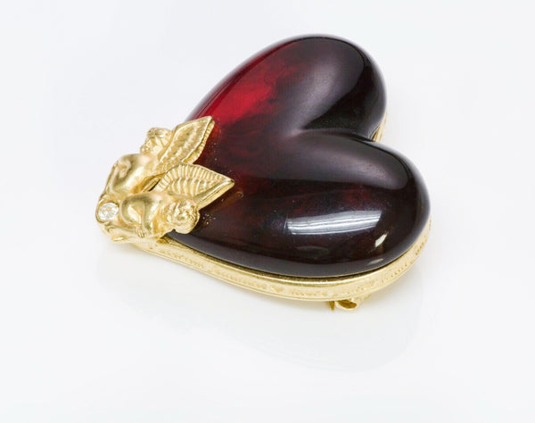 GIVENCHY Paris Red Lucite Cherub Angel Heart Brooch 2
