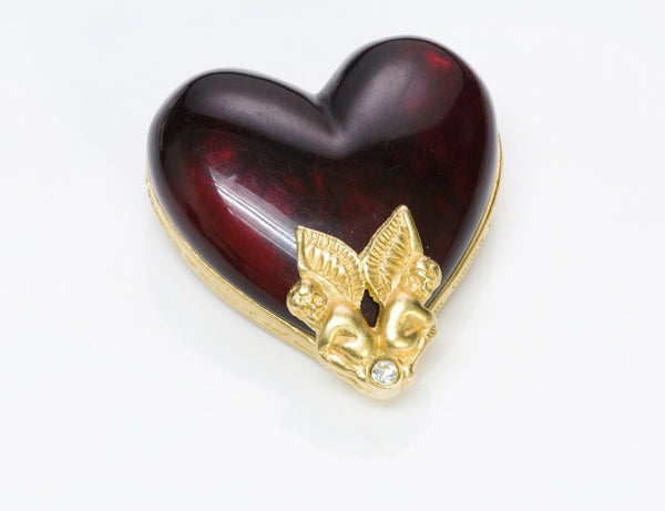GIVENCHY Paris Red Lucite Cherub Angel Heart Brooch