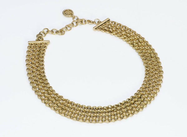 Givenchy Paris Gold Tone Chain Collar Necklace