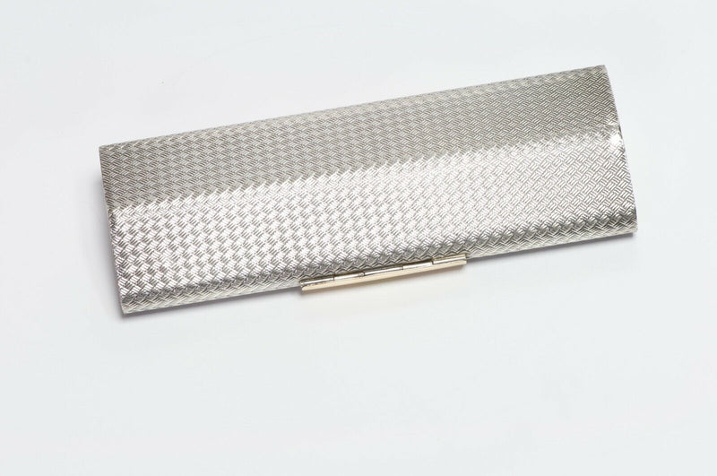 GUCCI 1970's Sterling Silver 18K Gold Woven Pattern Minaudière Clutch Bag