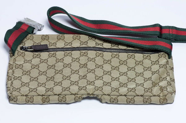 GUCCI GG Brown Canvas Leather Monogram Logo Waist Bag Fanny Pack