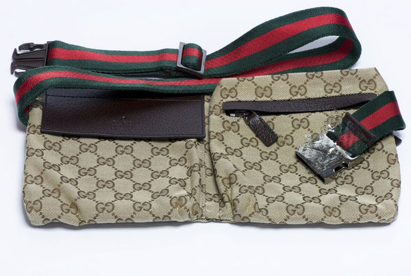 GUCCI GG Brown Canvas Leather Waist Bag Fanny Pack
