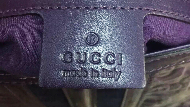 "GUCCI GG ""Treasure"" Purple Patent Leather Horsebit Pattern Women's Shoulder Bag Italy"