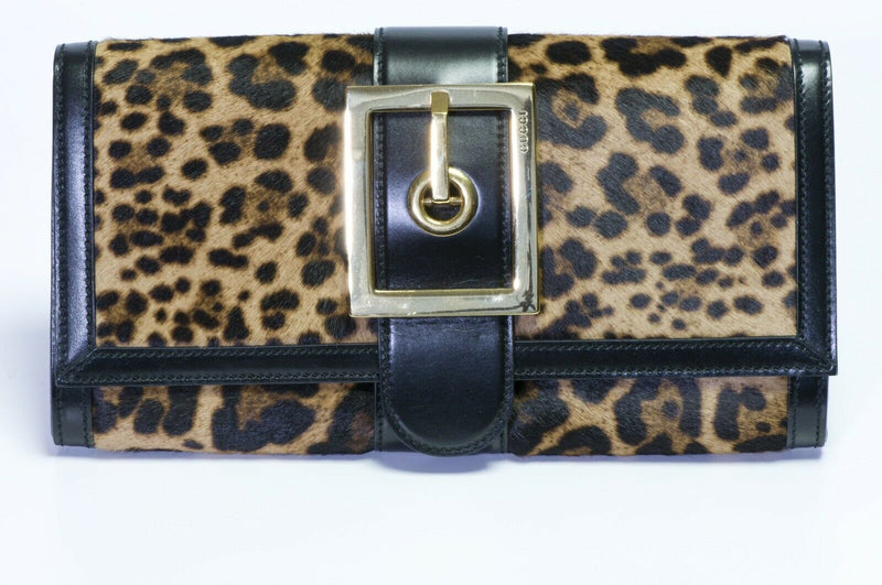 "GUCCI ""Lady"" Brown Black Leopard Calf Hair Leather Buckle Clutch Bag"
