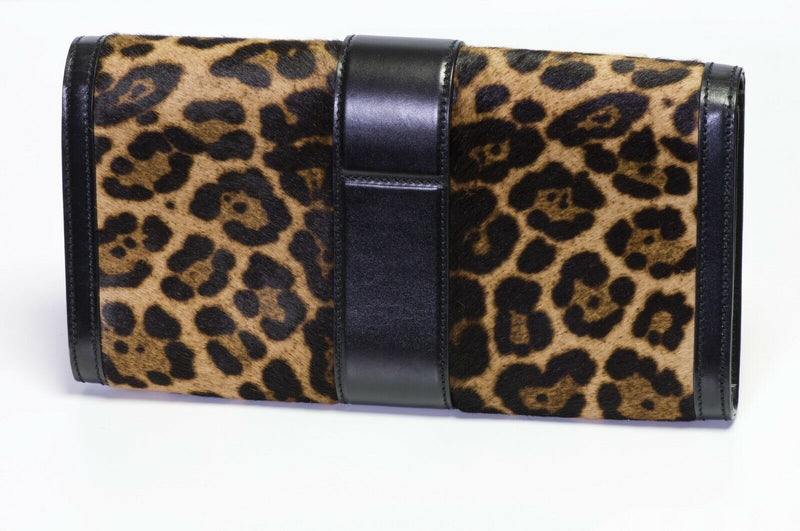 "GUCCI ""Lady"" Brown Black Leopard Calf Hair Leather Clutch Bag"