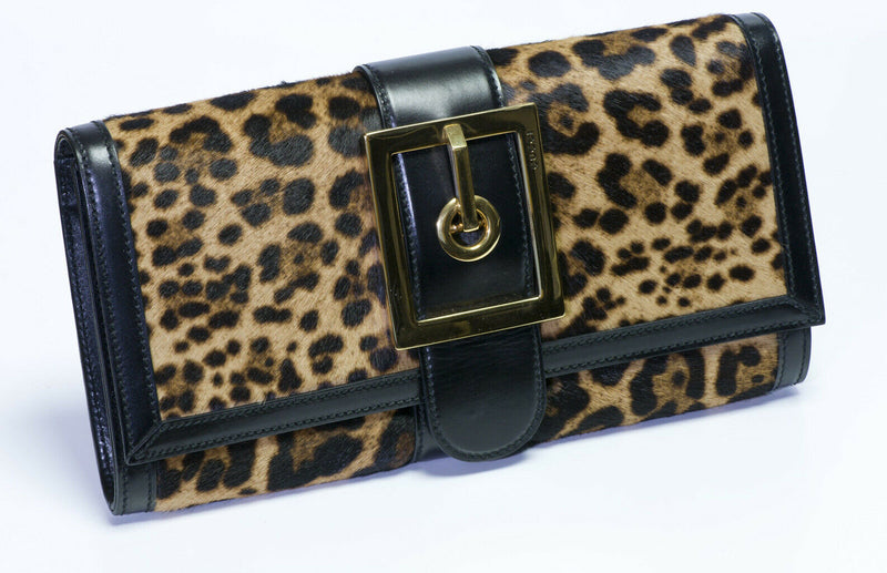 GUCCI Lady Leopard Calf Hair Leather Buckle Clutch Bag