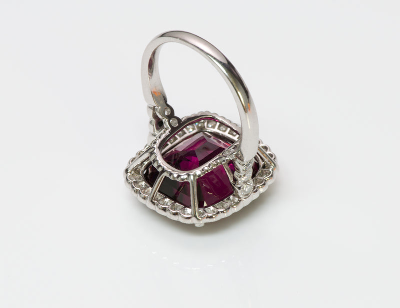 Almandine Garnet Diamond Platinum Ring 4