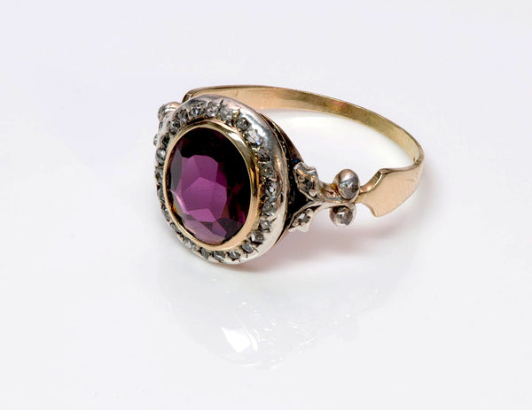 Antique Garnet Diamond Gold Ring