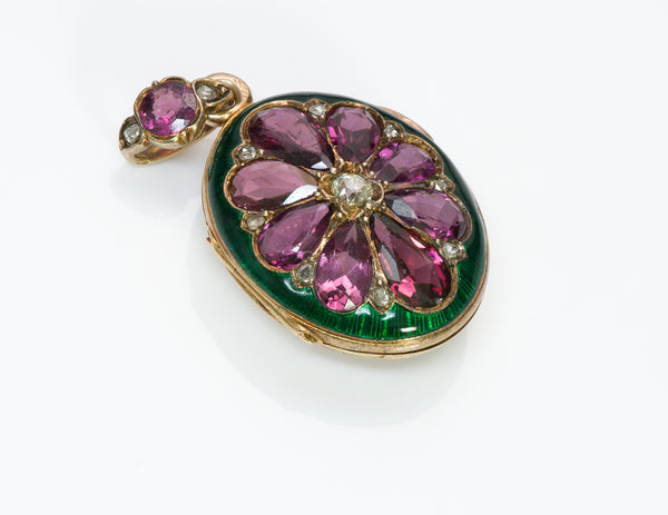Antique French Garnet Diamond 18K Gold Enamel Locket Pendant