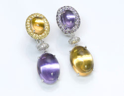 Gemstone & Diamond Gold Earrings