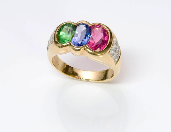Pink Tourmaline Tanzanite Tsavorite & Diamond 18K Gold Ring